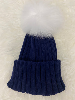 Fur Single Pom Pom Hat Navy with White Pom