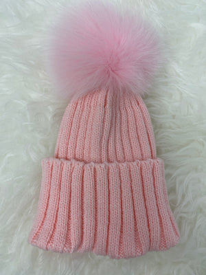 Fur Single Pom Pom Hat Pink with Pink Pom