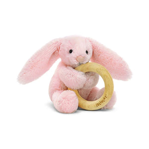 JellyCat Bashful Blush Bunny Wooden Ring Toy