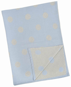 Merben Blue and Silver Polka Dot Blanket