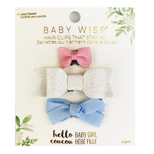 Baby Wisp Mini Latch 3PK Bow Pink, White Glitter and Blue Bell