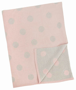 Merben Pink and Silver Polka Dot Blanket