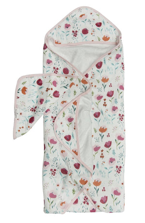 LouLou Lollipop Hooded Towel and Washcloth Set Rosey Bloom