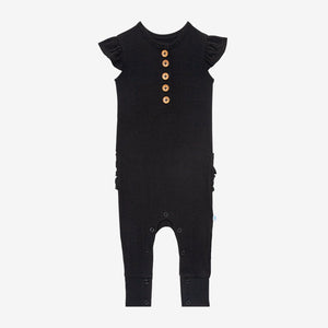 Posh Peanut Ribbed Black Ruffled Romper