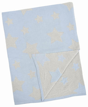 Meben Blue and Silver Multi-Star Blanket