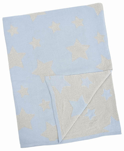 Merben Blue and Silver Multi-Star Blanket