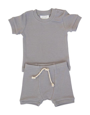 Mebie Baby Grey Ribbed Short Set
