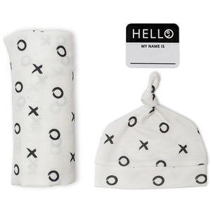 Lulujo Baby Hello World Newborn Hat and Swaddle Blanket Set XO