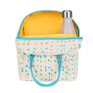 Fluf Zipper Lunch bag Blue Hearts