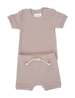 Mebie Baby Lavender Ribbed Short Set
