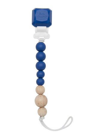 LouLou Lollipop Pacifier Clip Silicone and Wood Classic Blue