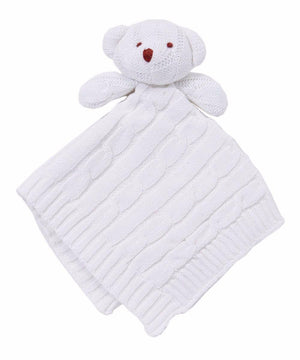 Baby Mode Cable Knit Lovey Bear White