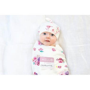 Lulujo Hello World Swaddle and Hat Set Posies