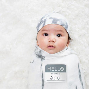 Lulujo Hello World Swaddle and Hat Set Marble