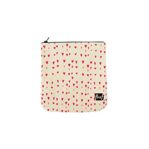 Fluf Zip Pouch Pink Hearts
