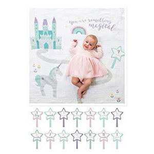 Lulujo Baby's First Year Swaddle Milestone Blanket Something Magical