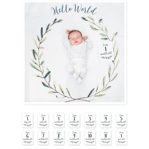 Lulujo Baby's First Year Swaddle Milestone Blanket Hello World Wreath