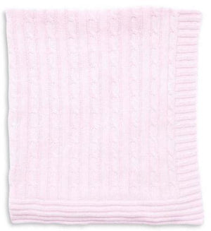 Tots Fifth Avenue Cable Knit Blanket Pink
