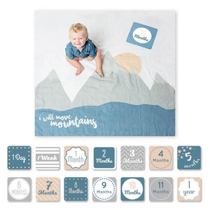 Lulujo Baby's First Year Swaddle Milestone Blanket I Will Move Mountains