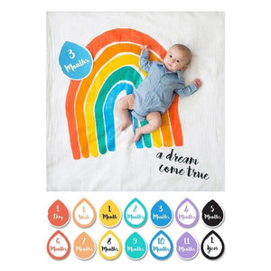 Lulujo Baby's First Year Swaddle Milestone Blanket Dream Come True