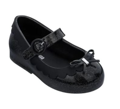 Mini Melissa Sweet Love Maryjanes Black Glitter