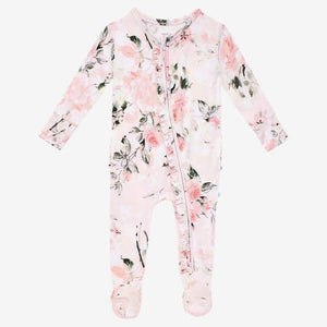 Posh Peanut Vintage Rose Pink Ruffled Zippered Footie