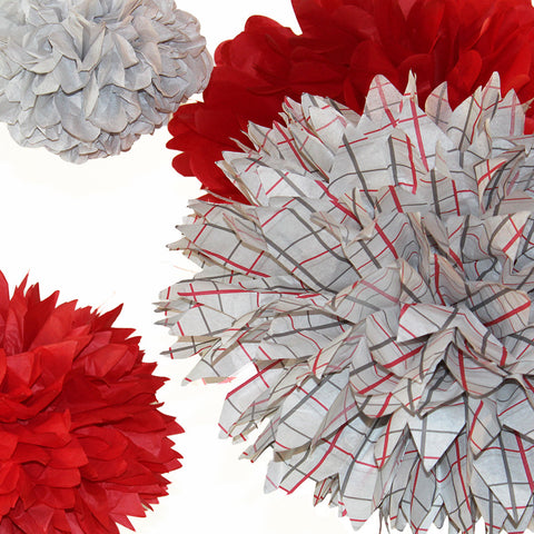 PomAdore's Buckeye tissue pom set in honor of Ohio State University Football fans.