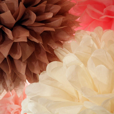 PomAdore's Baby Doll tissue paper pom set in a colorful combination of pink, cream and brown.
