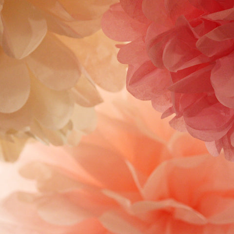 PomAdore's Charmed tissue paper poms in peony and blush pink with ivory.
