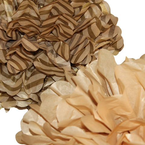 PomAdore's Gold Standard tissue paper pom set in shimmery soft metallic golds.