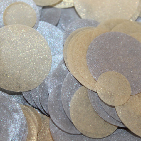 PomAdore's sparkle metallic confetti comes in silver and gold or a combination of the two.
