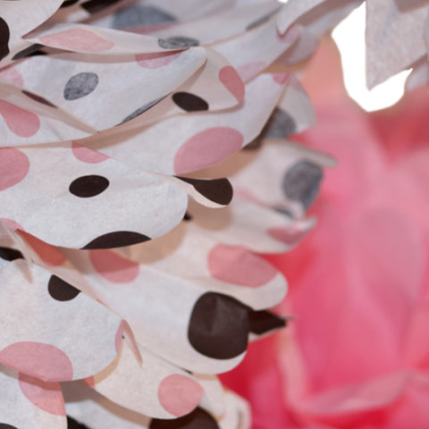 Neapolitan polka dot tissue paper pom set featuring pinks, white and brown by PomAdore.