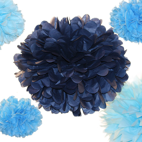 PomAdore mixes petal and pointy tips in a tissue paper pom set ideal for baby boys.
