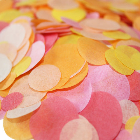 Toss confetti into your party decor by decorating tables or adding it to invitations, gift bags or clear balloons. Made from recycled tissue paper, this handmade confetti comes in seventy shades for you to mix and match, including silver and gold.