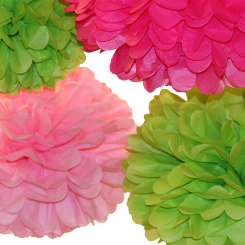 PomAdore's Lilly P tissue paper pom set in bright pinks and green for girl's birthday parties.