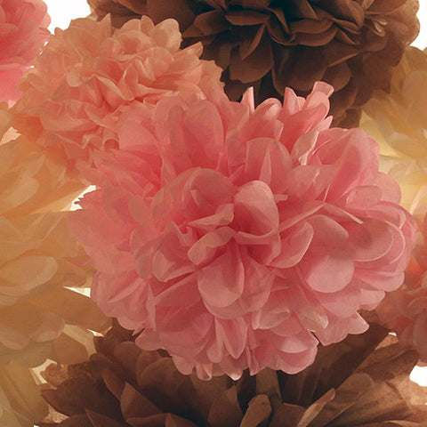 This medium pink colored tissue paper pom is just one of five custom sizes available by PomAdore.