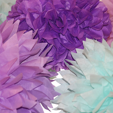 PomAdore's tissue paper pom set brings under the sea magic to Little Mermaid birthday parties.
