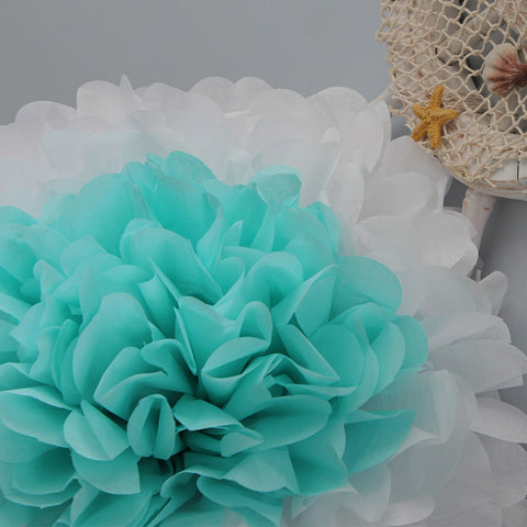 Sea Glass Flower is a tissue paper pom made by PomAdore for beach themed weddings.