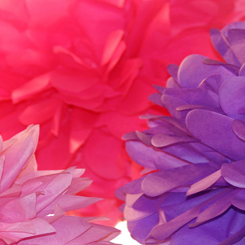 PomAdore's carefully crafted tissue paper poms in a color combination fit for a princess.