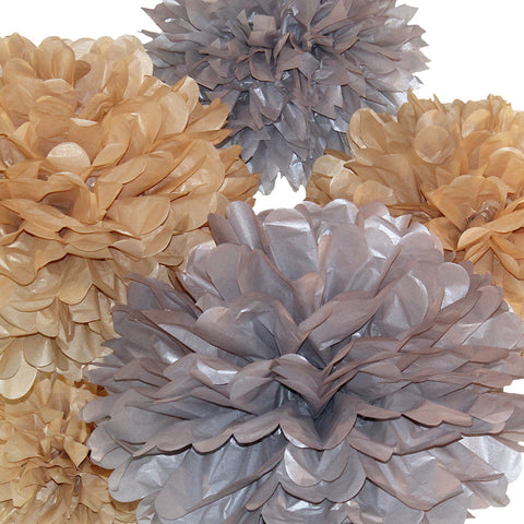 Make a shimmery statement with silver and gold sparkle tissue paper poms by PomAdore.
