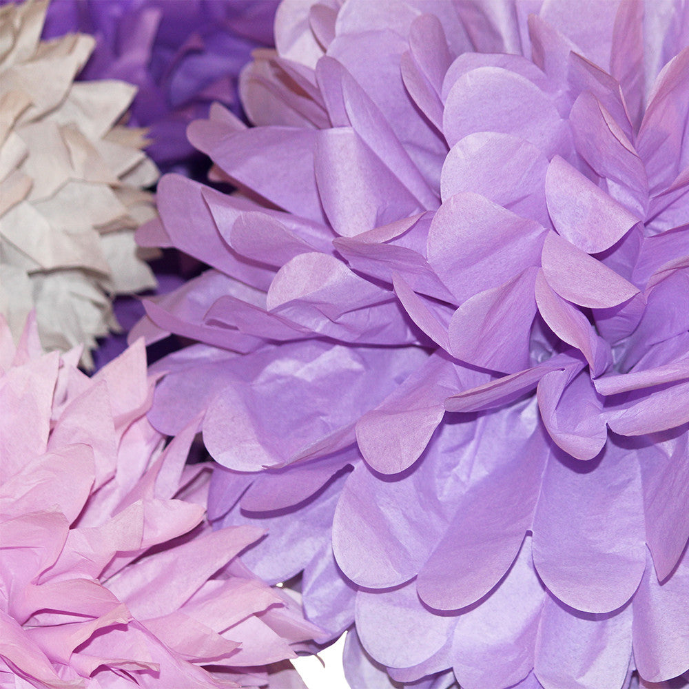 PomAdores Purple And Grey Pom Set Is A Great Idea For Wedding Decorations