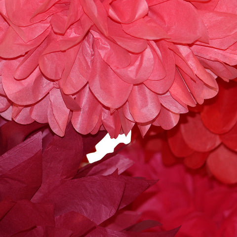 PomAdore's tissue paper poms come in a variety of rosy flower hues in the collection War of the Roses.