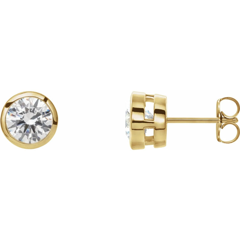 Bezel Set Lab Grown Diamond Earring Studs