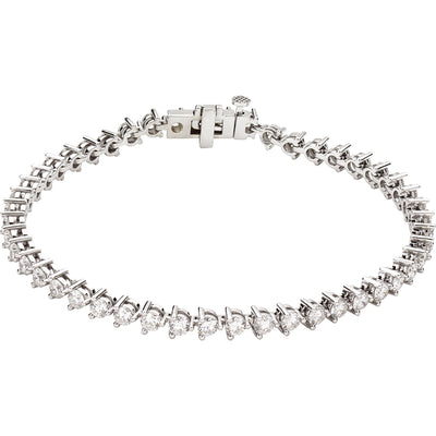 14kt Lab Grown 4 3/4 carat total weight Diamond In-Line 3 Prong Tennis Bracelet - Green Planet Diamonds