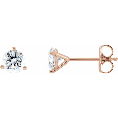 Three Prong Martini Lab Grown Diamond Earring Studs
