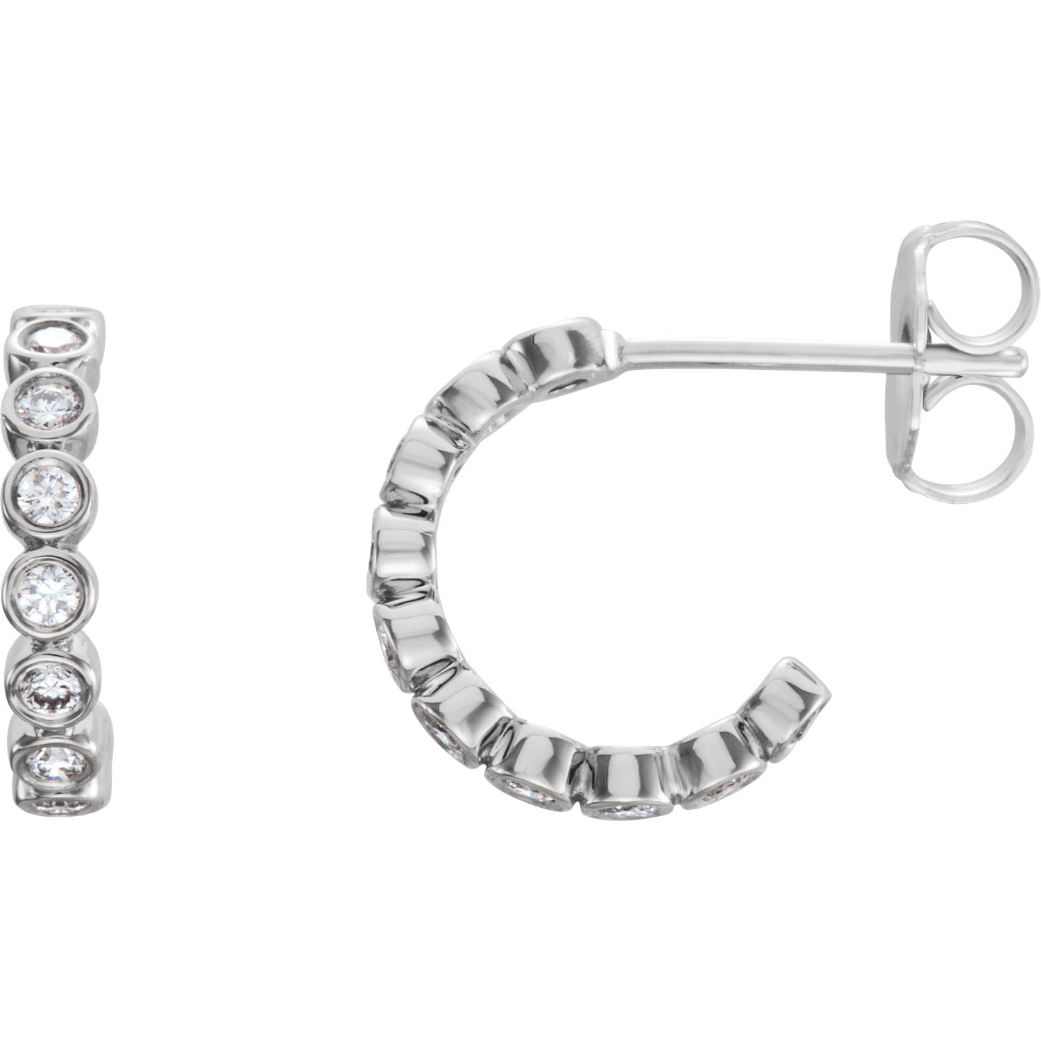 Bezel Set J Hoop Lab Grown Diamond Earrings