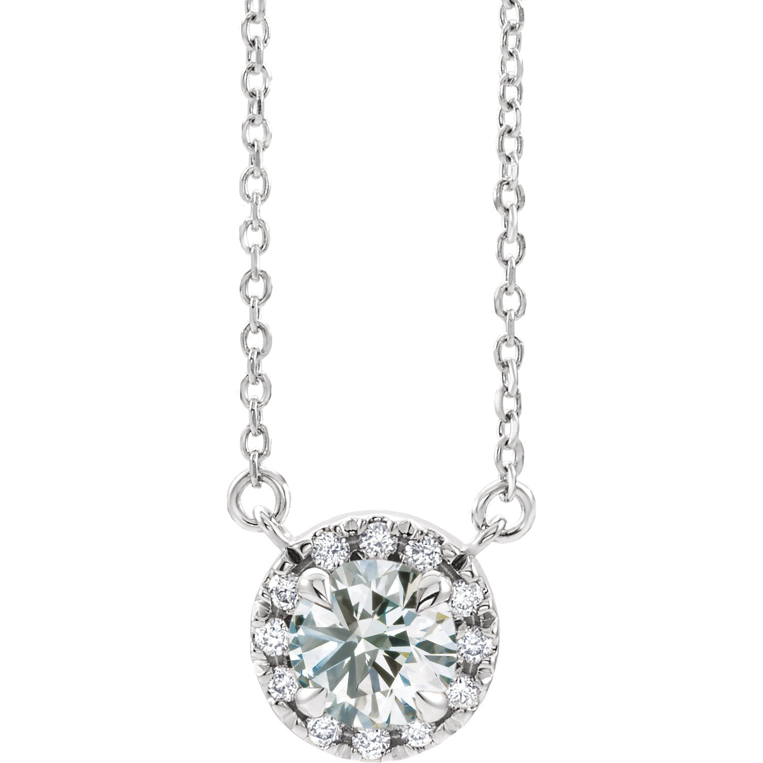 14kt Gold French Halo Lab Grown Diamond Necklace - Green Planet Diamonds
