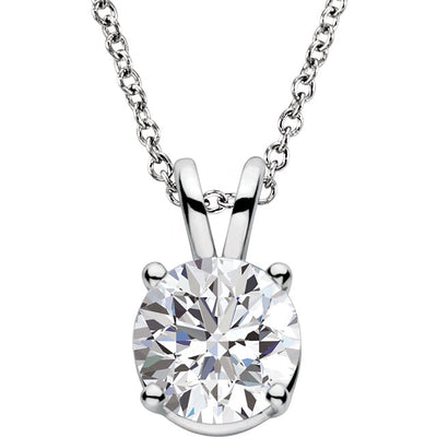 14kt. Classic four prong Lab Grown Diamond Pendant - Green Planet Diamonds