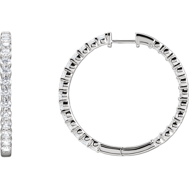 14kt Stunning Inside/Outside Lab Grown Diamond 14kt Hoop Earrings - Green Planet Diamonds