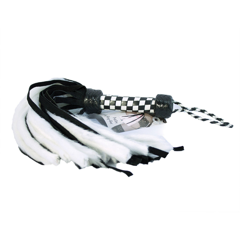 "Suede and Fluff MINI Flogger - 18"" - White/Black"